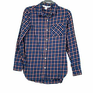 Old navy pink and blue flannel buttoned plaid top